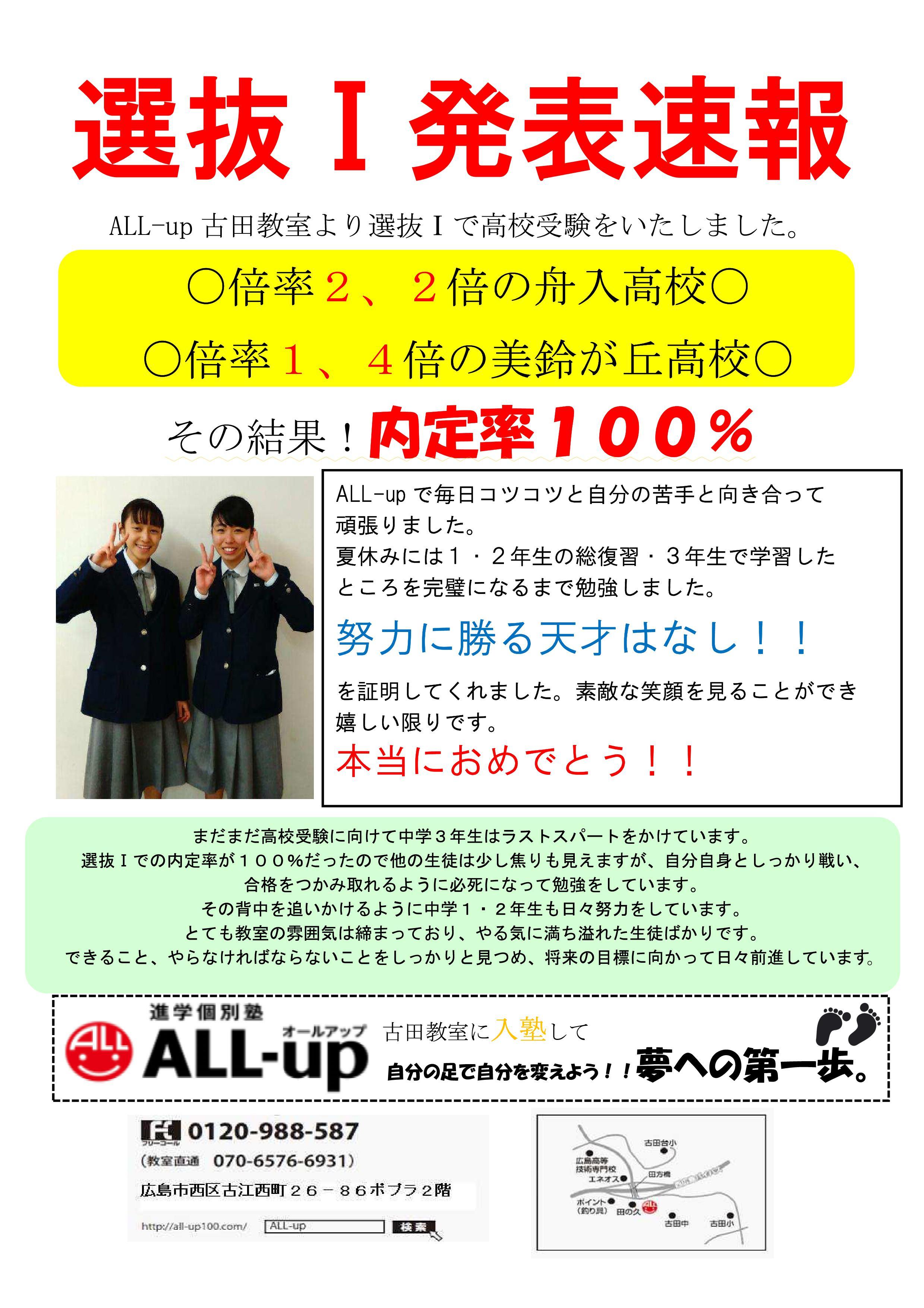 【古田教室】選抜Ⅰ結果 HP用(訂正版2)